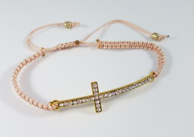Diamond Gold Cross Macrame Bracelet